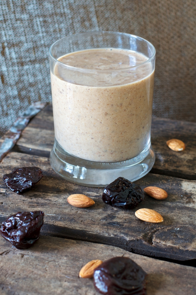 Healthy Smoothie drink with oats prunes and almonds