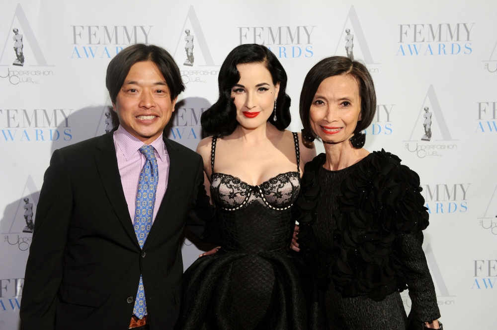 NEW YORK, NY - FEBRUARY 02: Ken Natori, Josie Natori and Dita Von Teese attend the 2016 Femmy Awards on February 2, 2016 in New York City. (Photo by Craig Barritt/Getty Images for The Underfashion Club)