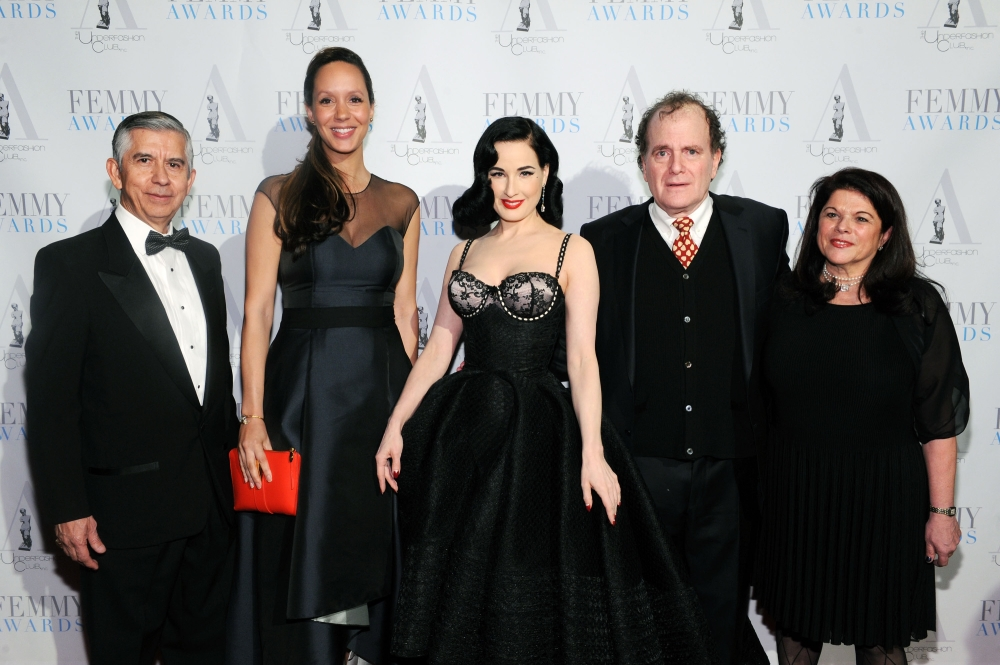 NEW YORK, NY - FEBRUARY 02: Victor Vega, Meredith Bunche, Dita Von Teese, Richard Leeds and Marcia Leeds attend the 2016 Femmy Awards on February 2, 2016 in New York City. (Photo by Craig Barritt/Getty Images for The Underfashion Club)