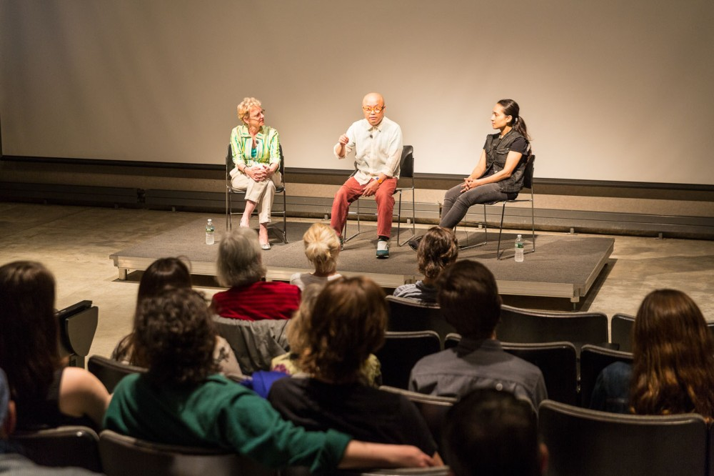 Art critic Eleanor Heartney, Brooklyn Rail editor Phong Bui and Pakistani artist Shahzia Sikander, Imago Mundi - The Art of Humanity, Pratt Institute, New York