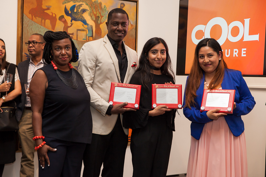 From left to right our Executive Director Candice Anderson, Sanford Biggers, Ayqa Khan and family leader Natalia Leal. Image by Meg Stacker