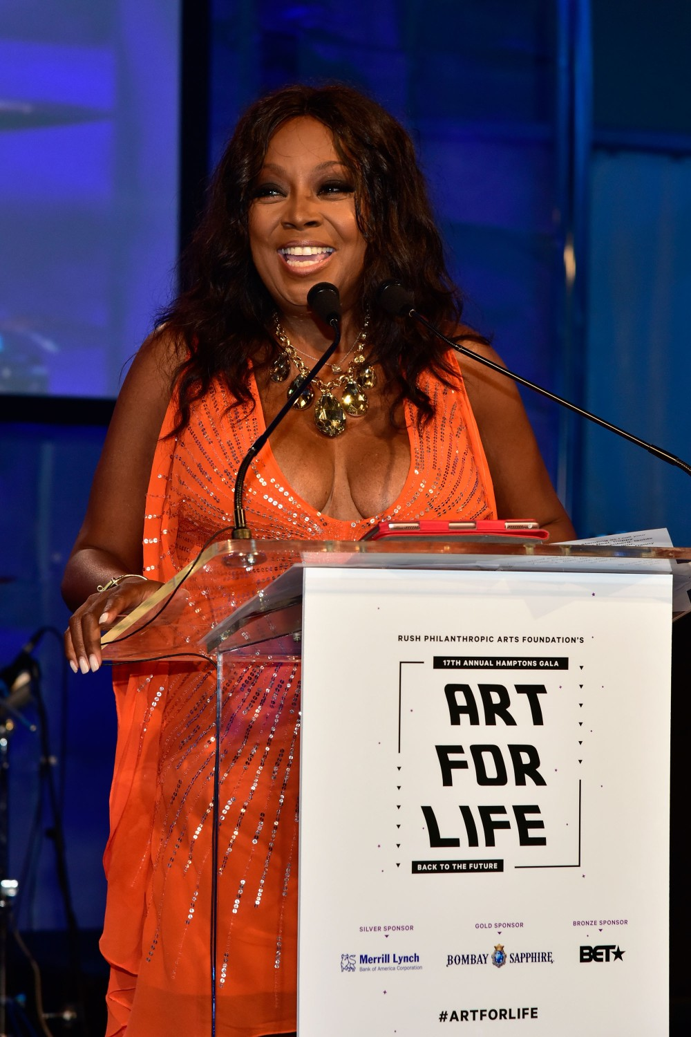BRIDGEHAMPTON, NY - JULY 16:  Star Jones speaks on stage at Rush Philanthropic Arts Foundation's 2016 ART FOR LIFE Benefit presented by Bombay Sapphire Gin at Fairview Farms on July 16, 2016 in Bridgehampton, New York.  (Photo by Eugene Gologursky/Getty Images for Bombay Sapphire)