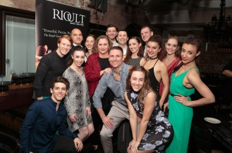 RIOULT Dance NY dancers with Artistic Director Pascal Rioult and Kathleen Turner Photo by Eric Bandiero