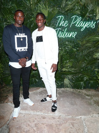 JULY 11: NFL players D'Angelo Blake (L) and John Ross attend The Players' Tribune Hosts Players' Night Out 2017 at The Beverly Hills Hotel on July 11, 2017 in Beverly Hills, California. (Photo by Leon Bennett/Getty Images for The Players' Tribune )