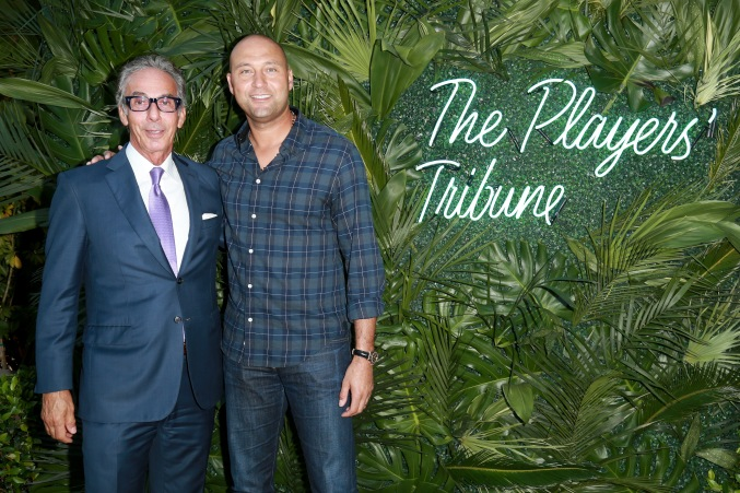 JULY 11: General Manager of the Beverly Hills Hotel Edward Mady (L) and NBA player Derek Jeter attend The Players' Tribune Hosts Players' Night Out 2017 at The Beverly Hills Hotel on July 11, 2017 in Beverly Hills, California. (Photo by Leon Bennett/Getty Images for The Players' Tribune )