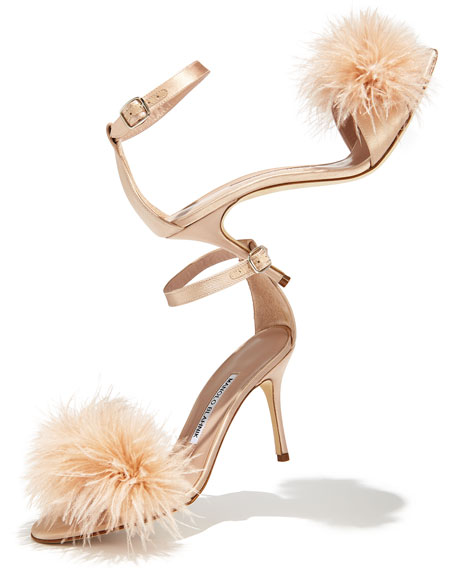 MANOLO BLAHNIK'S PLUMAS FEATHEREMBELLISHED SANDAL FOR $745