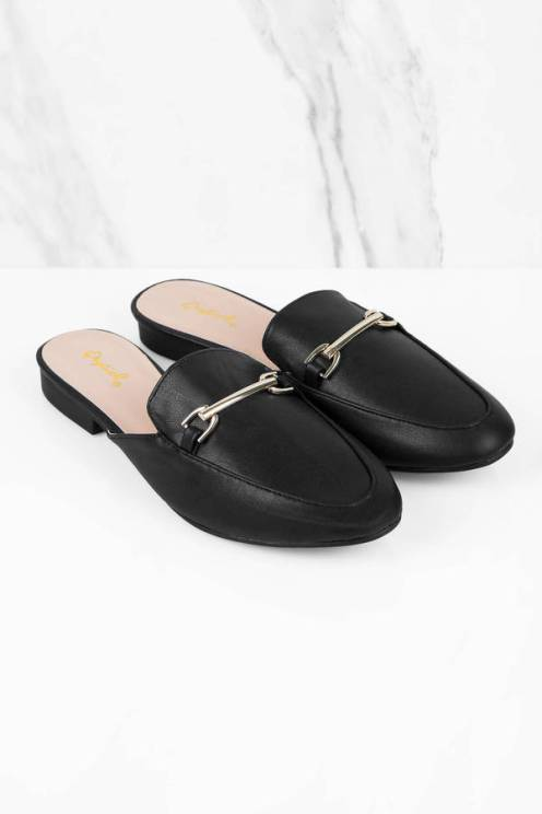 TOBI'S REGENT BLACK SLIDE ON MULES FOR $50