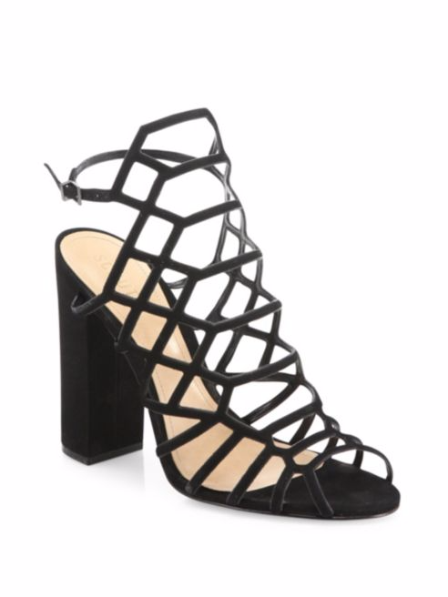 SCHUTZ'S JADEN CAGED SUEDE BLOCK HEEL SANDALS FOR $190