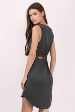 CATHRYN GREY RIBBED SHIFT DRESS from www.tobi.com