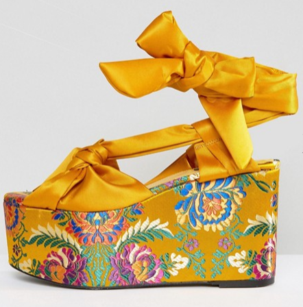 ASOS'S MANGO FLORAL JAQUARD TIE UP FLATFORM SANDALS FOR $71.50