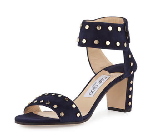 JIMMY CHOO'S VETO STUDDED SUEDE CITY SANDAL FOR $850