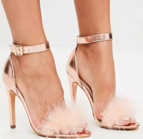 MISSGUIDED'S ROSE GOLD FEATHER STRAP BARLEY THERE HEELS FOR $51