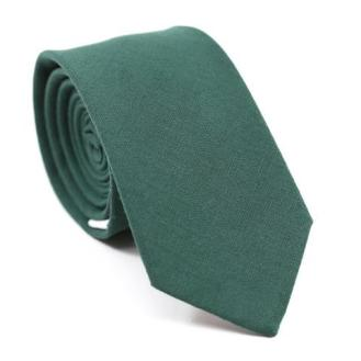 DAZI-Plain-Forest-Green-Skinny-Tie-Cotton-Necktie_large