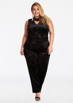 The plus-size Velvet Jumpsuit from Ashley Stewart. Your next night out is LIT in this plus size velvet jumpsuit. Available from www.AshleyStewart.com for $34.75