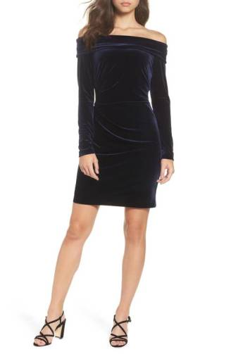 Eliza J Off the Shoulder Velvet Sheath Dress. Radiant in lustrous velvet, this sheath takes advantage of the incredibly flattering shoulder-baring silhouette that's having a fashion moment this season. Available at www.nordstrom.com for $118