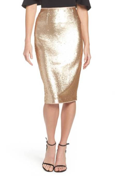 The Eliza J Paillette Pencil Skirt. Add special-event shine to your look with a party-ready pencil skirt drenched in glimmering golden paillettes. Available at www.shop.nordstrom.com for $148
