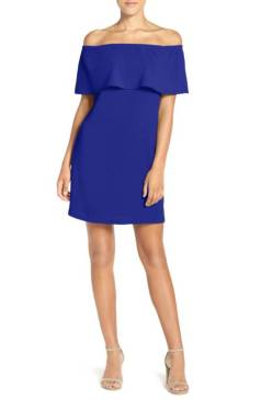 Off the Shoulder Dress from Charles Henry. This vivid dress has a trendy off-the-shoulder neckline styled with a flirty ruffle that enhances the crisp, fluttery silhouette. Available at www.shop.nordstrom.com for $88