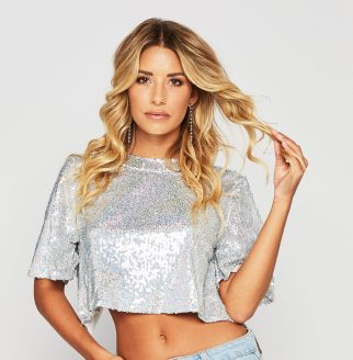 The Reflections Crop Top is a sequined cropped tee featuring a sexy open back. Available from www.honeybum.com for $31.00