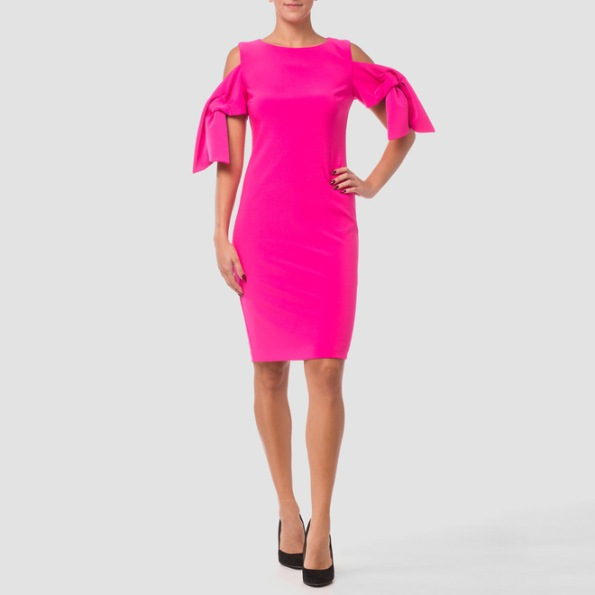 Joseph Ribkoff's flowing and feminine sheath dress has tie details at each short sleeve in addition to shoulder cutouts and fitted natural waist. The garment also comes with knee-length hem and rear-zip closure with discreet liner. Available in multiple colors at www.1ereavenue.com for $211