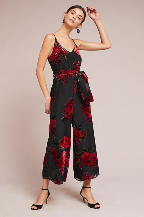 Floral Burnout Waisted Jumpsuit from Anthropologie. A demure floral motif elevates this flattering jumpsuit to an event-ready stunner. Velvet rose detailing with wide-leg pants. Available from www.anthropologie.com for $148