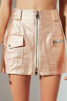 Parker Metallic Zipper mini skirt from Urban Outfitters that's perfect for adding a glimmering touch to any look. Built from a metallic cotton twill in a high-rise, straight-cut silhouette. Topped with a full-length double zipper front closure + mismatched zip and button flap pockets at the hips. Finished with snap-button flap detailing at the waist. Available at www.urbanoutfitters.com for $69