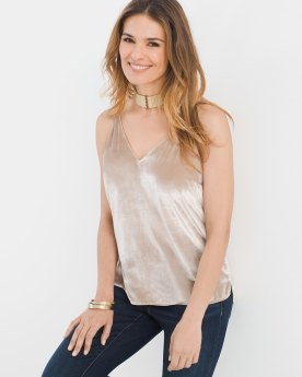 Wear the Velvet Cami alone or layer it under your favorite jacket or cardi. Either way, it's luxuriously soft and undeniably chic. Available at www.chicos.com for $31.49