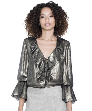 The Elliot LS Ruffle Blouse from Alice and Olivia. In silk metallic chiffon, our Elliot ruffle blouse is a failsafe option for evening (though we love it for day with denim as well). Available from www.aliceandolivia.com for $295