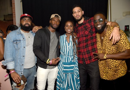 "MIAMI, FL - DECEMBER 09: Broderick Hunter, Issa Rae and Sarunas J. Jackson pose with guests at BACARDI, Swizz Beatz and The Dean Collection bring NO COMMISSION back to Miami to celebrate ""Island Might"" at Soho Studios on December 9, 2017 in Miami, Florida. (Photo by Jamie McCarthy/Getty Images for BACARDI)"