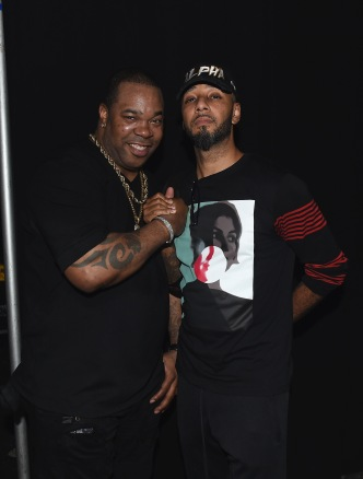 "MIAMI, FL - DECEMBER 08: Busta Rhymes and Swizz Beats attend BACARDI, Swizz Beatz and The Dean Collection bring NO COMMISSION back to Miami to celebrate ""Island Might"" at Soho Studios on December 8, 2017 in Miami, Florida. (Photo by Nicholas Hunt/Getty Images for BACARDI)"