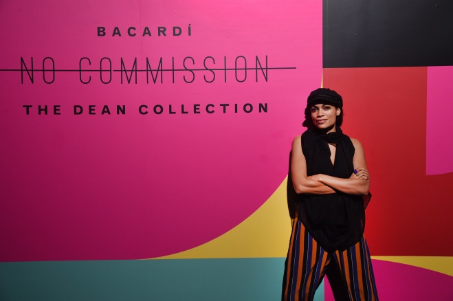 "MIAMI, FL - DECEMBER 09: Rosario Dawson attends BACARDI, Swizz Beatz and The Dean Collection bring NO COMMISSION back to Miami to celebrate ""Island Might"" at Soho Studios on December 9, 2017 in Miami, Florida. (Photo by Jamie McCarthy/Getty Images for BACARDI)"
