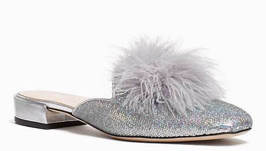 Gala Flats from Kate Spade, because nothing puts an extra spring in your step like the right shoes! And fur with glitter... Available from www.katespade.com for $250
