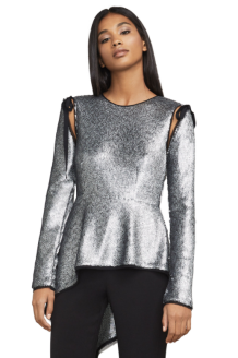 Shilow Sequin Peplum Top from BCBG. Generate seasonal shimmer in this striking asymmetrical peplum design with detachable sleeves. Its on-trend cold-shoulder detail features whimsical arm-ties for an elevated finish. Available from www.bcbg.com for $298