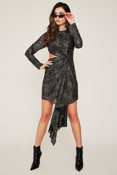 AFRM's Amos Cutout Dress; has a metallic star print, crew neck, cut-out at side, and asymmetric silhouette. Available at www.shopafrm.com for $118