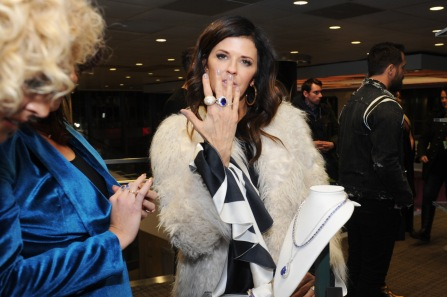 Singer Karen Fairchild of Little Big Town attends the GRAMMY Gift Lounge during the 60th Annual GRAMMY Awards at Madison Square Garden