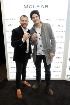 Singer Justin Guarini (R) attends the GRAMMY Gift Lounge during the 60th Annual GRAMMY Awards at Madison Square Garden