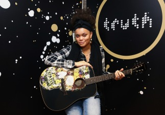 Singer Andra Day attends the GRAMMY Gift Lounge during the 60th Annual GRAMMY Awards at Madison Square Garden