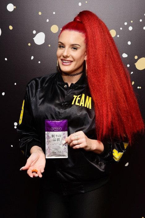 Recording artist Justina Valentine attends the GRAMMY Gift Lounge during the 60th Annual GRAMMY Awards at Madison Square Garden