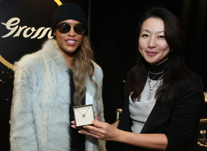 Rapper Eve attends the GRAMMY Gift Lounge during the 60th Annual GRAMMY Awards at Madison Square Garden