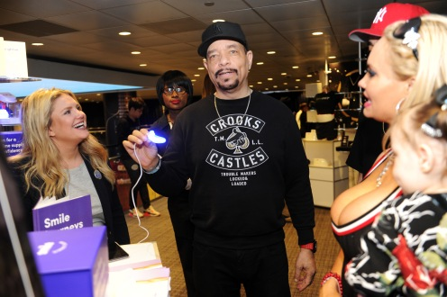 Rapper/musician Ice-T of musical group Body Count (C) and actor/model Coco Austin (R) attend the GRAMMY Gift Lounge during the 60th Annual GRAMMY Awards at Madison Square Garden