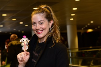 Actor/singer Laura Dreyfuss attends the GRAMMY Gift Lounge during the 60th Annual GRAMMY Awards at Madison Square Garden