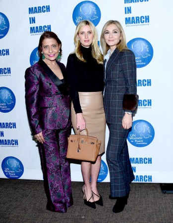 NEW YORK, NY - MARCH 08: UN Women for Peace Association Chair Muna Rihani Al-Nasser Poses with Nicky Hilton Rothschild and Un Women for Peace Association Board member Michal Grayevsky on March 8, 2018 in New York City. (Photo by Aurora Rose/Patrick McMullan via Getty Images)