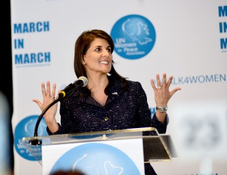 NEW YORK, NY - MARCH 08: US Ambassador to the United Nations Nikki Haley Speaks at the UNFPA Annual Awards Luncheon on March 8, 2018 in New York City. (Photo by Aurora Rose/Patrick McMullan via Getty Images)