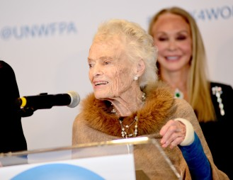 NEW YORK, NY - MARCH 08: Eve Branson Speaks at the UNWFPA Annual Awards Luncheon on March 8, 2018 in New York City. (Photo by Aurora Rose/Patrick McMullan via Getty Images)