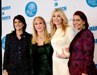 NEW YORK, NY - MARCH 08: Nikki Haley; Barbara Winston, Sheikha Rima Al-Sabah and Muna Rihani Al-Nasser pose at the UNWFPA Awards Luncheon on March 8, 2018 in New York City. (Photo by Aurora Rose/Patrick McMullan via Getty Images)