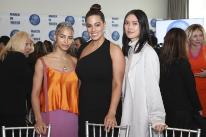 Actress Kota Eberhardt, Model Ashley Graham and Actress Tao Okamoto attend the UNWFPA Annual Awards Luncheon in Celebration of International Women's Day on March 8, 2018 in New York City. (Photo by Amber De Vos/Patrick McMullan via Getty Images)