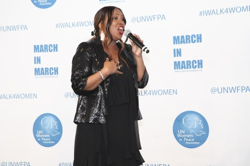Singer Mary Brown performs at the UNWFPA Annual Awards Luncheon in Celebration of International Women's Day on March 8, 2018 in New York City. (Photo by Amber De Vos/Patrick McMullan via Getty Images)