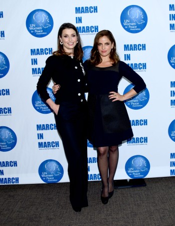 NEW YORK, NY - MARCH 08: Bridget Moynahan and Noa Tishby Pose at the UNWFPA Annual Awards Luncheon on March 8, 2018 in New York City. (Photo by Aurora Rose/Patrick McMullan via Getty Images)