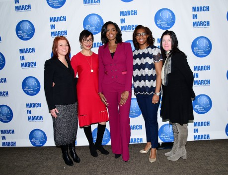 NEW YORK, NY - MARCH 08: Kate Curbchar, Lynn Thomas, Swin Cash, Kia Clark and Margaret Murphy Pose at the UNWFPA Annual Awards Luncheon on March 8, 2018 in New York City. (Photo by Aurora Rose/Patrick McMullan via Getty Images)