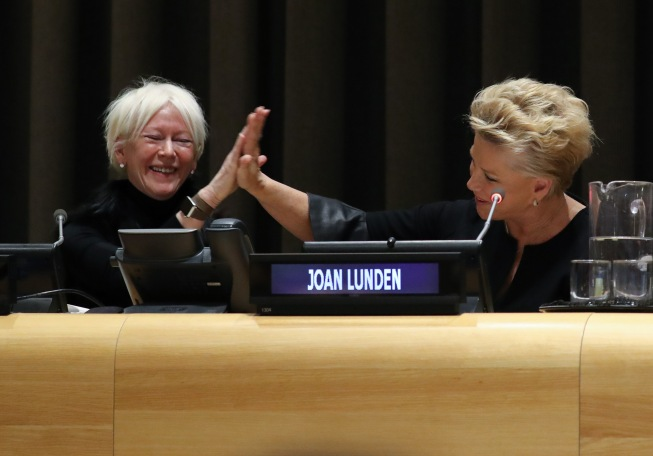 NEW YORK, NY - MARCH 08: Joanna Coles and Joan Lunden attend International Women's Day The Role of Media To Empower Women Panel Discussion at the United Nations on March 8, 2018 in New York City. (Photo by Rob Kim/Getty Images)