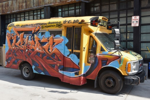 BROOKLYN, NY - MAY 03: A view of a school bus on display during the Moniker International Art Fair Opening. Kaspersky Lab is supporting the Moniker Art Fair's first US edition in New York in May 2018. Kaspersky Lab has also commissioned a permanent mural by D*Face, at The Greenpoint Terminal on May 3, 2018 in Brooklyn, New York. (Photo by Presley Ann/Getty Images for Kaspersky Lab)